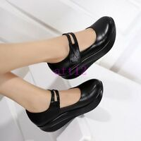 New Womens Mary Jane Round Toe Black Wedge Heel Nurse Pumps Fashion Wedge Shoes