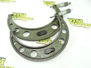 """TWO MITUTOYO MICROMETERS CARBIDE FACED .0001"""" GRADS 5""""-6"""" & 6""""-7"""" RANGE"""