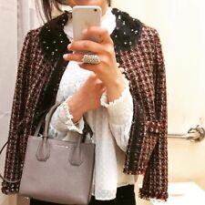 Zara Red Beaded Jacket With Lace Collar Size MEDIUM BNWT
