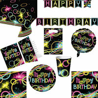 Glow Stick Neon Party Happy Birthday Tableware, Invitations And Decorations