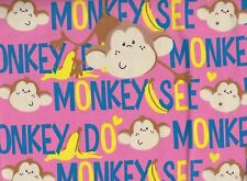 Pink Monkey Printed Flannelette Fabric