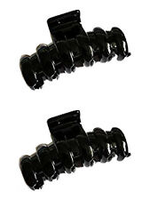 Set of 2 Pretty Black Hair Claw Clamp Clip Unique Bull Dog / Curved Design