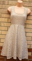 TUAPE BEIGE SILVER GLITTER FLORAL LACE SLEEVELESS BOW BACK A LINE PARTY DRESS 16