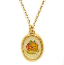 Maximal Art Halloween Necklace Pumpkin Jack-O-Lantern Gold New John Wind Jewelry