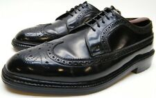 MENS VINTAGE CORFAM BLACK WINGTIP BROGUE OXFORD DRESS SHOES SZ 8.5~1/2 D