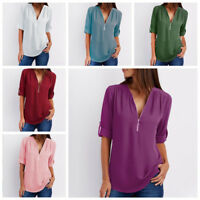 Women's Solid Chiffon V-neck Top Long Sleeve Shirt Casual Blouse Loose T-shirts