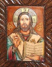 HAND MADE RELIEF WOOD ORTHODOX ICON JESUS CHRIST