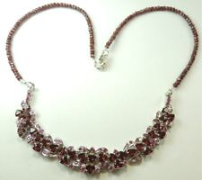 Statement Garnet & Ruby Necklace Sterling Silver Wedding Mother of Bride