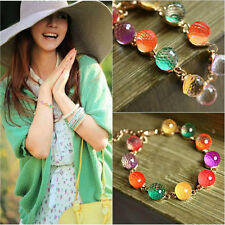 Fashion Candy Colorful Women Gold Chain Bracelet Charm Crystal Beads Bangle Cuff