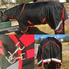WINTER HORSE RUG 1680D 300GM FILL. REMOVABLE NECK RUG BLACK AND RED. 6'