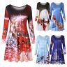 Womens Long Sleeve Vintage Xmas Christmas Printing Round Neck Party Swing Dress