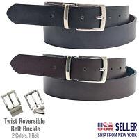 Anchor21 Parrel Mens Reversible Belt Black / Brown 35 MM, Brushed Nickel Buckle