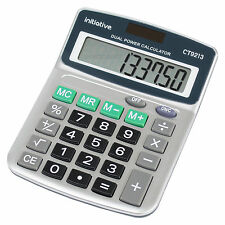 8 Digit Office Calculator Dual Solar Power Handheld Desktop Angled Screen On Off