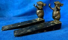 Antique Pair of Metal Rat Door Stopper Wood Base