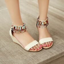 Summer Women Roman Sandals Mid Wedge Heels Tassel Bohemian Beach Mules Lady Shoe