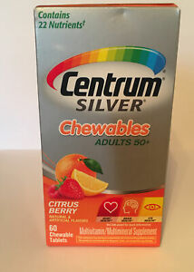 CENTRUM Silver CHEWABLES Adult 50+ MULTIVITAMIN Citrus Berry (60 TABLETS)