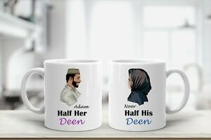 Personalised Named Mugs Half Her Deen Half His Deen Islamic Gifts Him Her Couple