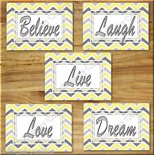 Yellow Gray Chevron Print Wall Art Decor Inspirational  Love LAUGH Believe DREAM