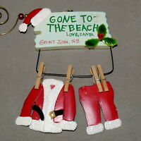 """Christmas Ornament WOOD & Ceramic KEY WEST SANTA SIGN """" Gone to Beach """" Lot of 2"""