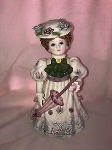 "Porcelain Vintage 1991 Schmid Musical Figurine Plays Bach's Minuet ""Angelina"""
