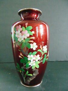 VINTAGE JAPANESE RED isoCLOISONNE VASE with CHERRY BLOSSOMS