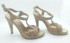 CHANEL LADIES SHOES Nude Leather Strappy High Heel Size 37 AUTH. Worn Once!
