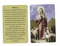 Psalm 23 verse with Jesus & Lambs (Lot of 2) Laminated catholic prayer cards