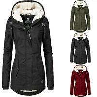 Women's Coat Fur Lined Trench Winter Jacket Hooded Parka Overcoat Warm Outwear