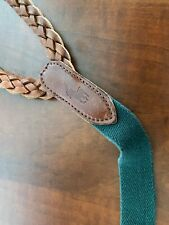 Polo Ralph Lauren Green Braided Woven Leather Suspenders Braces Made in USA