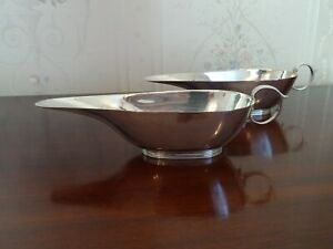 SUPER PAIR OF VINTAGE ENGLISH STERLING SILVER ART DECO SAUCE BOATS, ORIGINAL BOX
