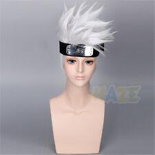 Anime Naruto Hatake Kakashi Cosplay Wig Short Silver White Halloween Costume