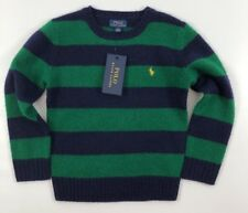 POLO RALPH LAUREN Boys' Kids' Blue/Green Striped Jumper, 100% Wool, 6 years