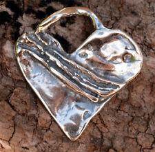 Gratitude Heart Sterling Silver Pendant, Rustic Artisan Heart Charm