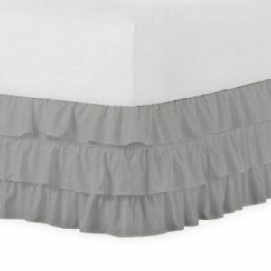 Cal-King 400TC Sateen Solid Cotton Ruffle Bed Skirt Light Grey