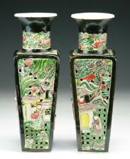 Pair Chinese Antique Famille Noire Susancai Vases