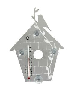 Pluto Produkter silver bird house indoor/outdoor thermometer