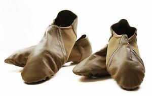 Girls Womens Nude Leather Jazz Dance Adult Kids Split Sole Shoes Booties
