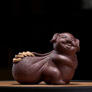 pig statue yixing zisha tea pet wealthy coin mascot house warming gift tea play