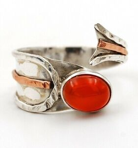 Two Tone- Carnelian 925 Solid Sterling Silver Ring Jewelry Sz 7.5, ED24-2