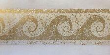 "Swirl Wave Wallpaper Border Gold Paint Speckles Splatter 2 3/4"""