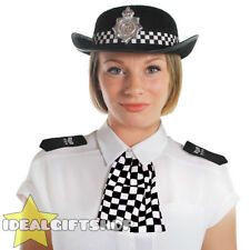 ADULT BLACK WPC POLICE WOMAN HAT WITH EPAULETTES & SCARF FANCY DRESS BRITISH