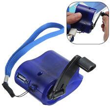 Blue USB Manual Dynamo Torch Emergency Charger Hand Crank Power Gadget Phone MP3