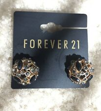 NEW Forever 21 Elegant Rhinestone Jeweled Gold Half Ball Dome Studs Earrings