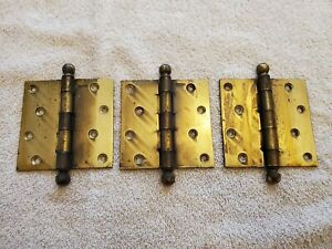 3 VINTAGE STANLEY CANNON BALL PIN BRASS DOOR HINGES 4 INCH