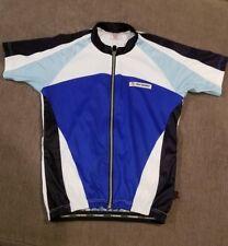 Bergamo Biking/Cycling Shirt in White and Blues Size Small (M1)