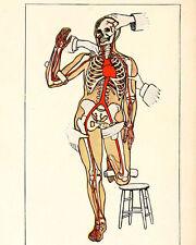 Creepy Halloween Skeleton Anatomy Medical Chart Painting Canvas Art Print