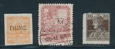 Fiume **3 MH & USED (1918-19)** SHOWN FRT & BACK; CV $40+