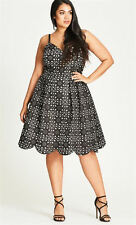 City Chic Black Laser Lady white lined STUNNING tulle pleat Party DRESS M 18 NEW