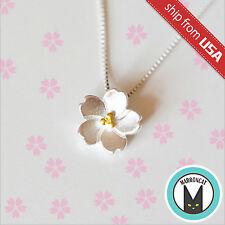 s925 Sterling Silver Sakura Flower Designer Necklace Pendant Novelty gift Cute