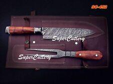 100% Custom Hand Forged Damascus 3 Pc Chef Knife Set